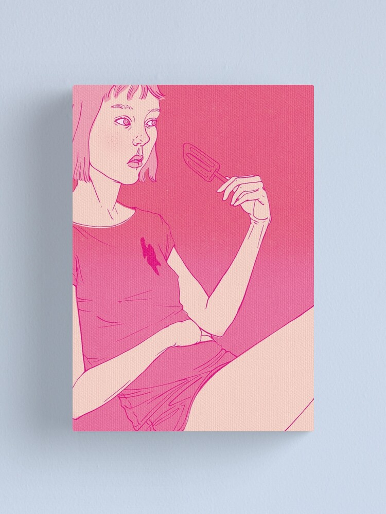 Alternate view of Girl eating an icecream on a hot day Canvas Print