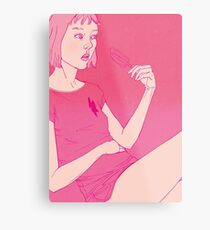 Girl eating an icecream on a hot day Metal Print