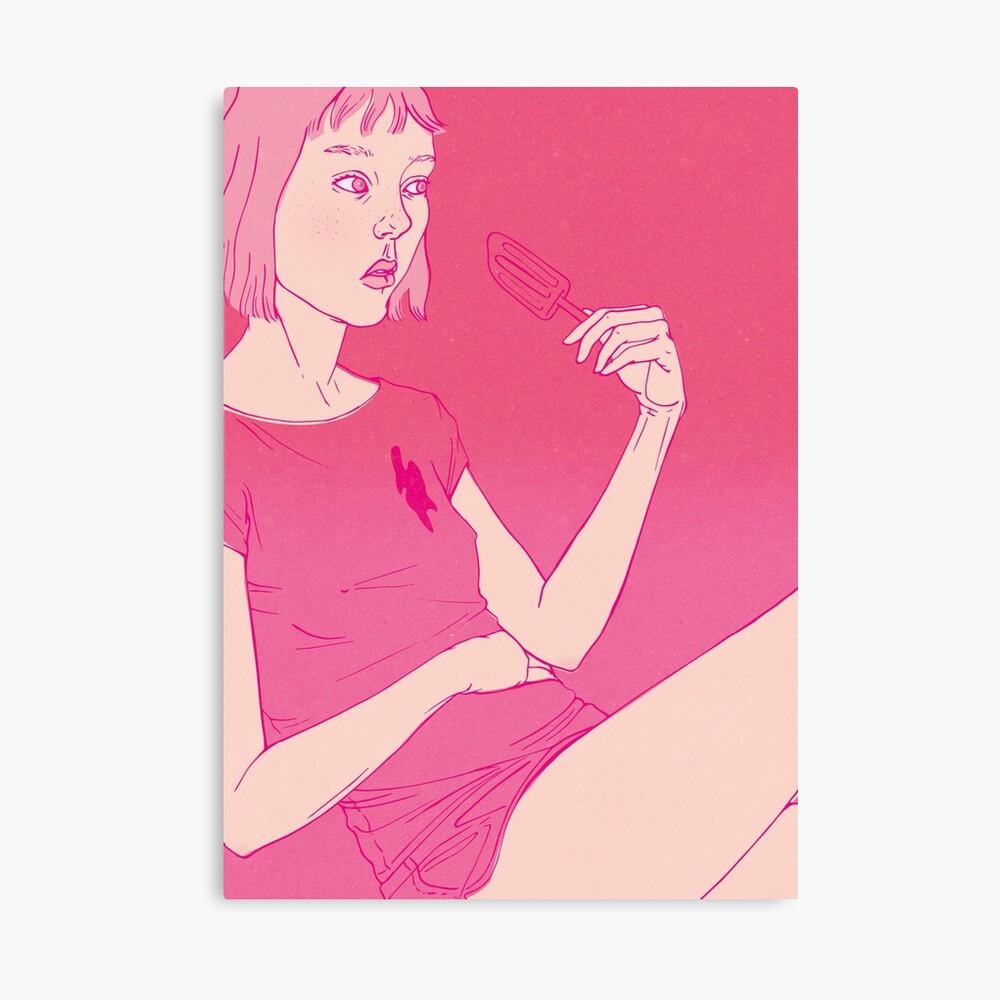 Girl eating an icecream on a hot day Canvas Print