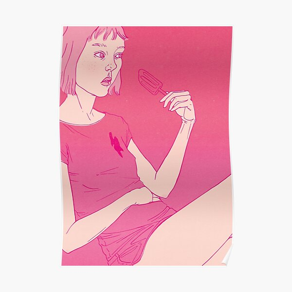 Girl eating an icecream on a hot day Poster