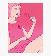 Girl eating an icecream on a hot day Photographic Print
