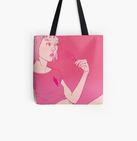 Girl eating an icecream on a hot day All Over Print Tote Bag