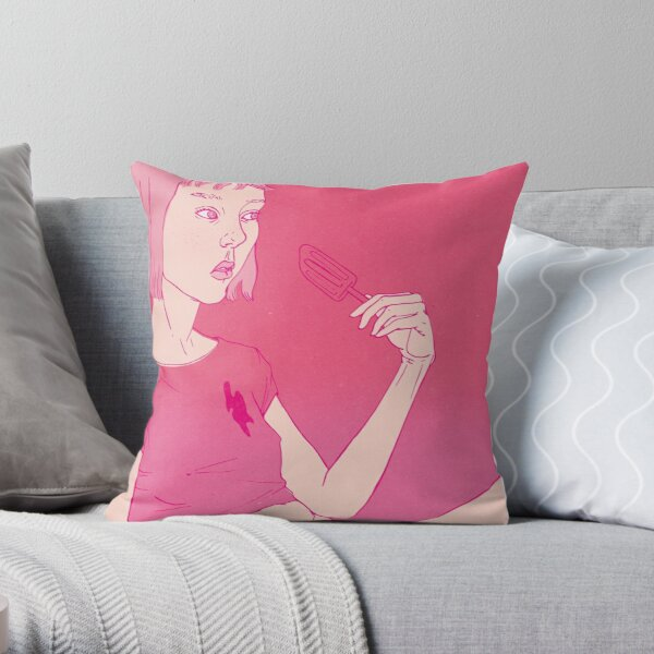 Girl eating an icecream on a hot day Throw Pillow