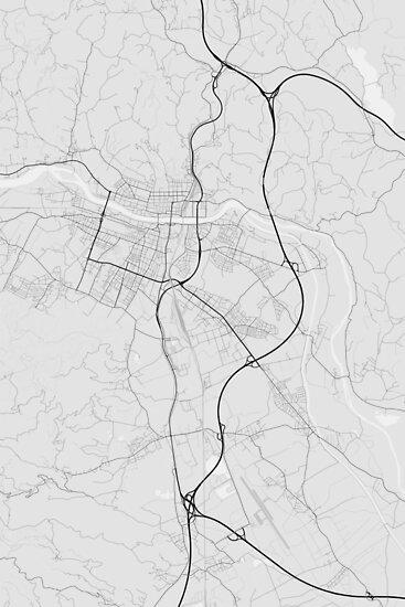 Maribor, Slovenia Map. (Black on white) von Graphical-Maps