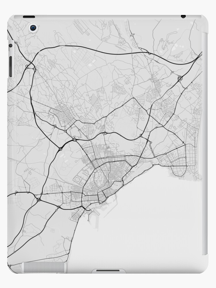 Map Of Spain To Color.Alicante Spain Map Black On White Ipad Cases Skins By