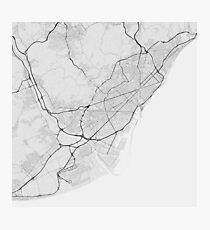 Barcelona, Spain Map. (Black on white) Photographic Print