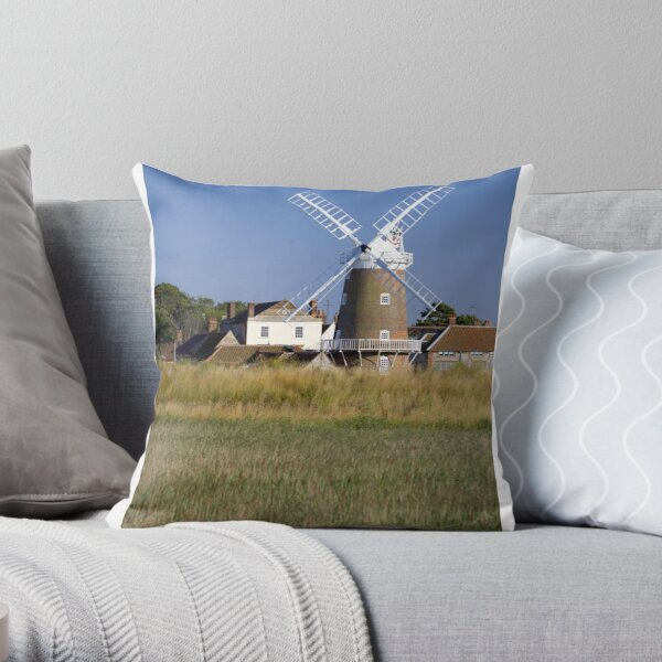 Cley Windmill and reedbeds Throw Pillow