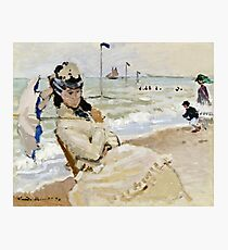 Claude Monet - Camille On The Beach In Trouville 1870  Photographic Print