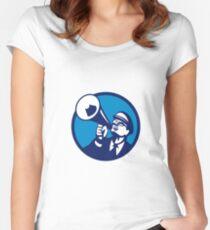 Nerd Shouting Megaphone Circle Retro Women's Fitted Scoop T-Shirt