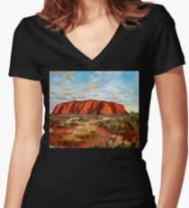 Uluru -   Australia's heart Women's Fitted V-Neck T-Shirt