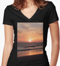 Sunset at the Beach Women's Fitted V-Neck T-Shirt