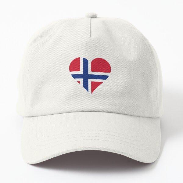 Norwegen Flagge Herz  rechts  schwarz Dad Hat