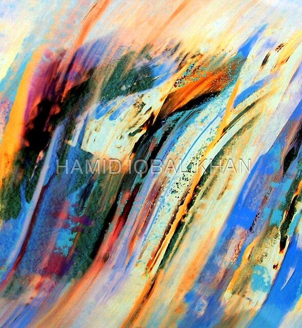 Abstract Oil On Paper by HAMID IQBAL KHAN