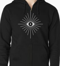 Electric Eyes - Black and White Zipped Hoodie