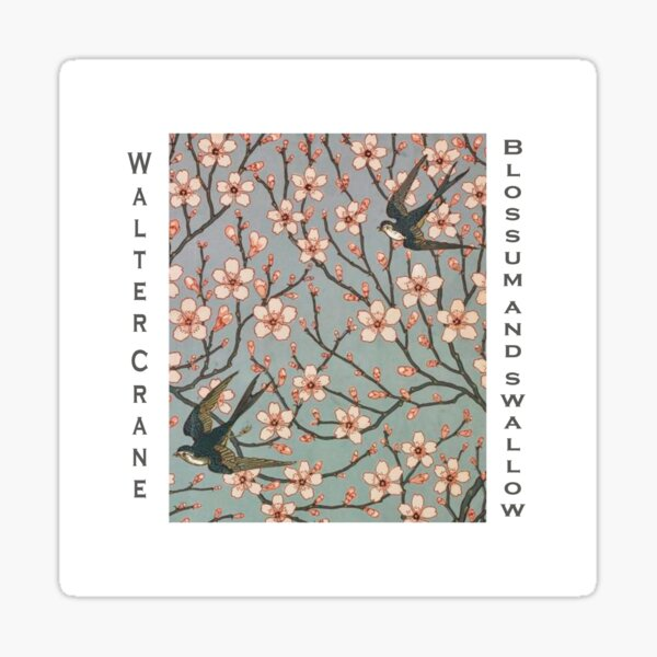 Walter Crane - Blossoms and Swallows Sticker