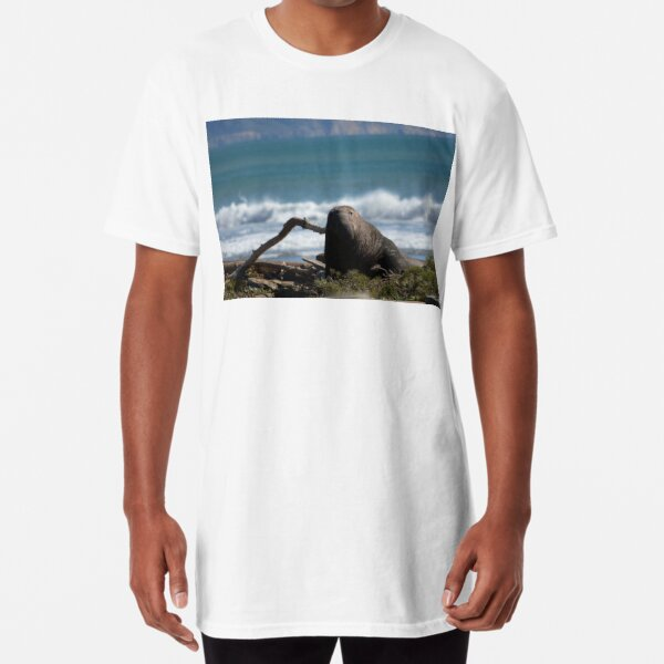Elephant Sea at Point Reyes Beach in Northern California Long T-Shirt