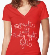 Fall Nights & Friday Night Lights Women's Fitted V-Neck T-Shirt