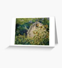 Barn & Sunflowers Watercolor Greeting Card