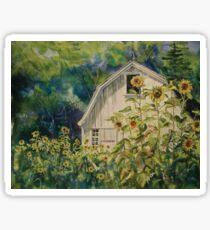 Barn & Sunflowers Watercolor Sticker
