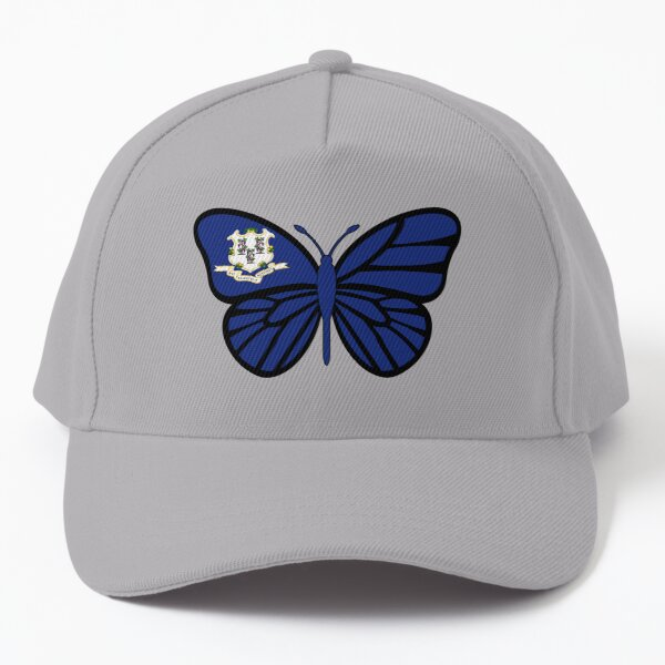 State of Connecticut Flag Butterfly Baseball Cap