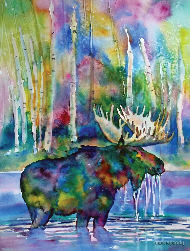 Moose In Lake Watercolor by Marybeth Cunningham