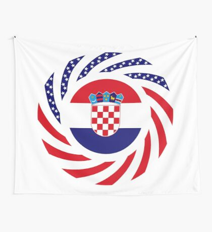 Croatian American Multinational Patriot Flag Series Wall Tapestry