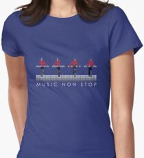 PIXEL8 | Music Non Stop | Red Women's Fitted T-Shirt
