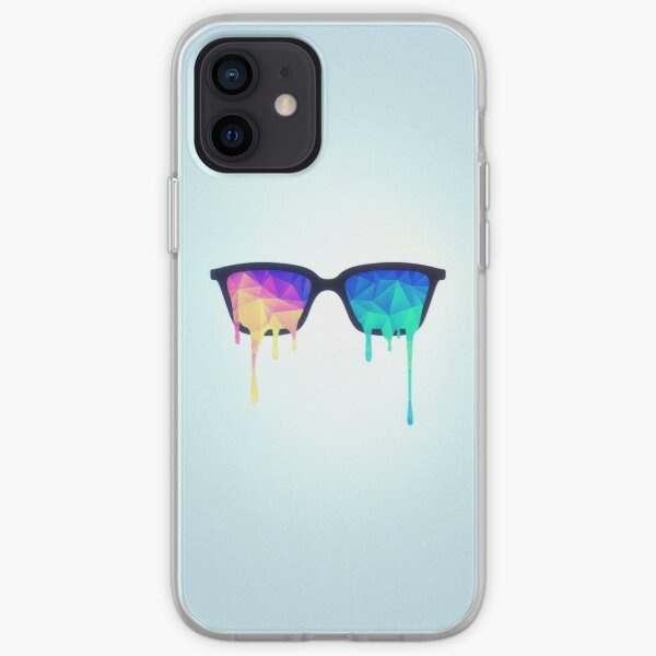 Psychedelic Nerd Glasses with Melting LSD/Trippy Color Triangles iPhone Soft Case
