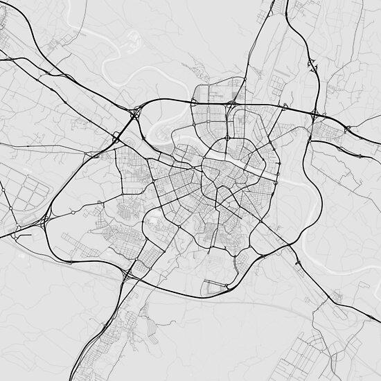 Zaragoza, Spain Map. (Black on white) von Graphical-Maps