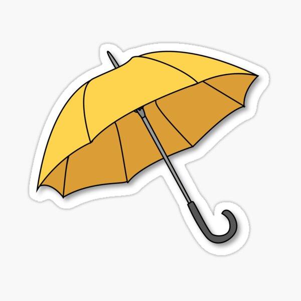 Parapluie jaune Sticker