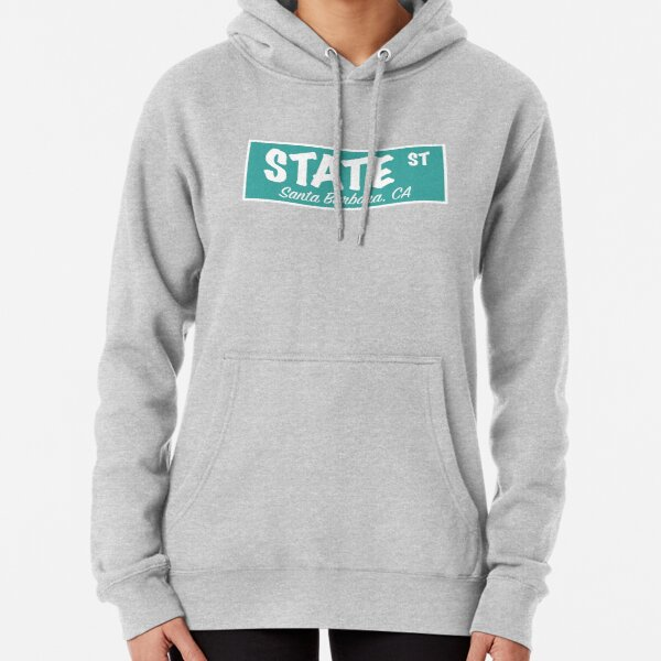 State Street Sign- Teal Blue Pullover Hoodie