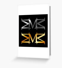 Alphabet M logo in gold and silver  Greeting Card