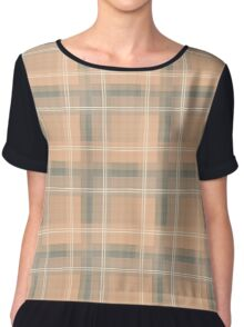 Checkered pattern in yellow with gray colors. Chiffon Top