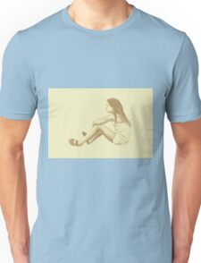 Drawing of child girl sitting and listening. Unisex T-Shirt