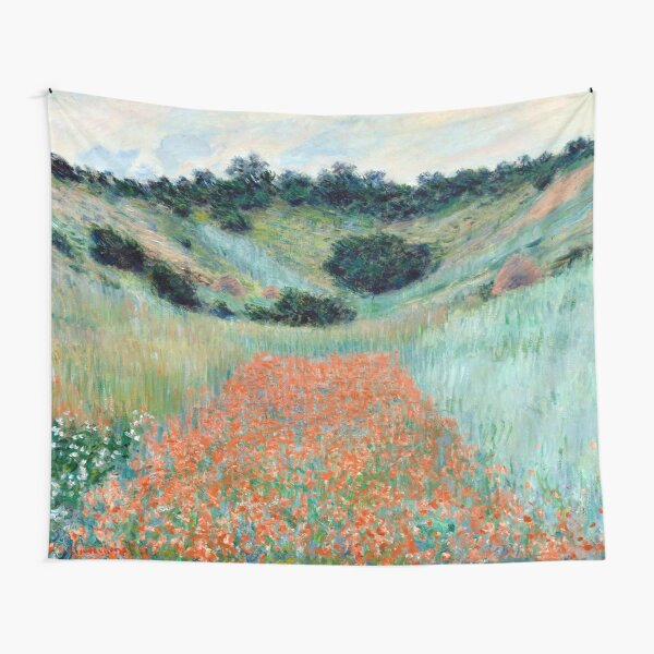 1885-Claude Monet-Poppy Field in a Hollow near Giverny-65 x 81 Tapestry