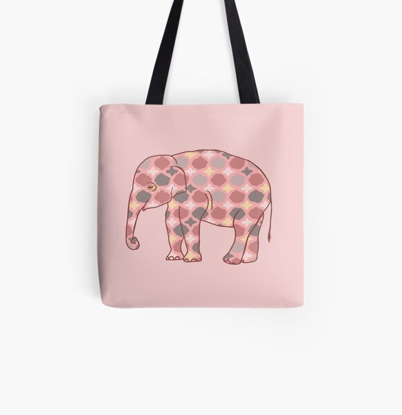 Pink, Gray and Yellow Patterned Elephant Silhouette All Over Print Tote Bag