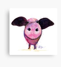 NOSEY PIG 'Pigs CAN Fly!' BY SHIRLEY MACARTHUR Canvas Print