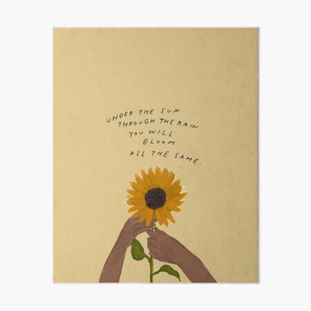 Bloom quote - Sunflower and African American Black Woman Art Art Board Print