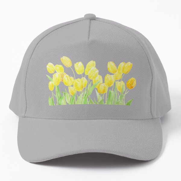 yellow tulips field watercolor Baseball Cap