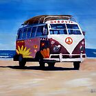 Surf Bus Series - The Groovy Peace VW Bus by artshop77