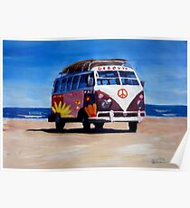 Surf Bus Series - The Groovy Peace VW Bus Poster