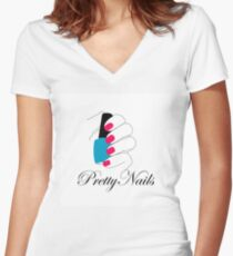 Pretty nails with a nail polish in hand  Women's Fitted V-Neck T-Shirt