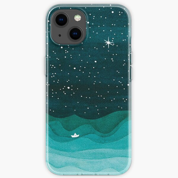 Starry Ocean, teal sailboat watercolor sea waves night iPhone Soft Case