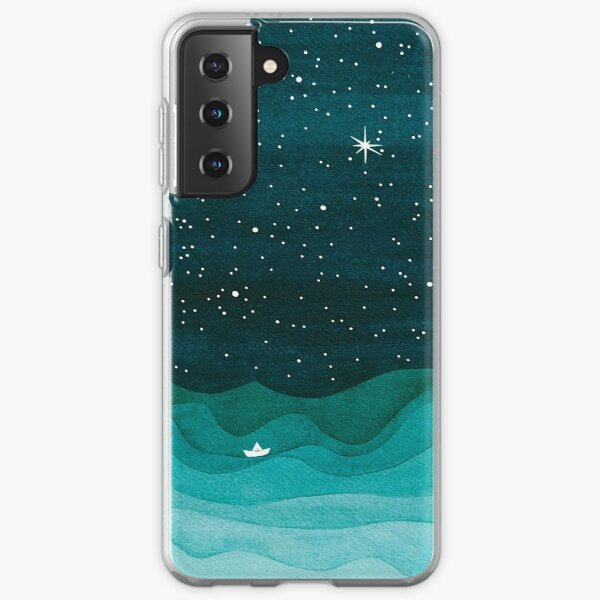 Starry Ocean, teal sailboat watercolor sea waves night Samsung Galaxy Soft Case