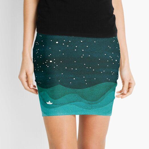 Starry Ocean, teal sailboat watercolor sea waves night Mini Skirt