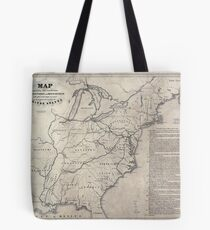 0199 Railroad Maps Map shewing the connection of the Baltimore and Ohio-Rail-Road with other rail roads executed or in progress throughout the United Tote Bag