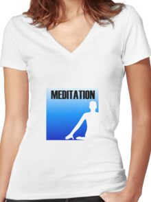 Meditation Women's Fitted V-Neck T-Shirt
