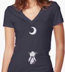 Moon Bunny Women's Fitted V-Neck T-Shirt