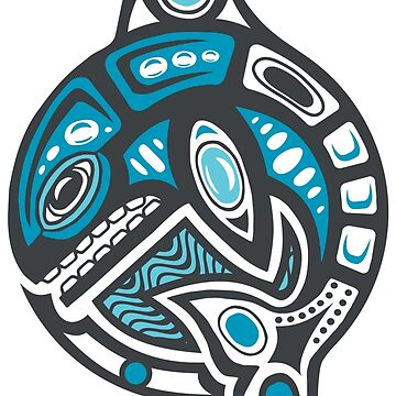 Orca Shamanic Animal Emblem - Grey Blue by Quire