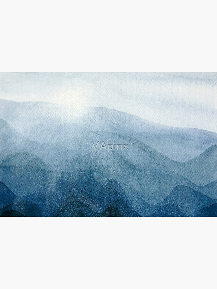 Blue Sunrise in the mountains, dawn, abstract watercolor by VApinx